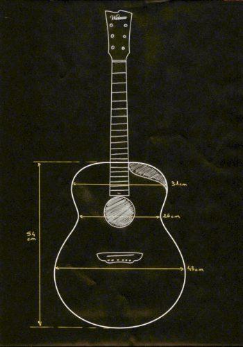 Abmessung Jumbo - Big Wave Gitarrenmodell